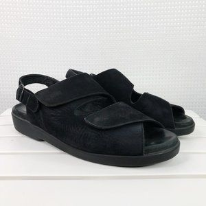Wolky Nimes Black Suede Leather Sandals 11.25-12